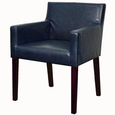 Griffin Vintage Blue Bonded Leather Arm Chair Birch Wood Legs