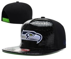 NFL Seattle Seahawks Hats New Era 9FIFTY Snapback Leather Brim All Black 038