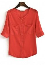 Red Buttons Pockets Half Sleeve Chiffon Blouse