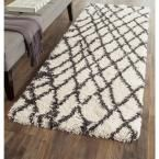 Belize Shag Ivory/Charcoal (Ivory/Grey) 2 ft. 3 in. x 7 ft. Runner