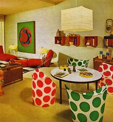 Design is fine. History is mine.Living at Home in the Seventies, from Practical Encyclopedia of Good Decorating and Home Improvement, 1970. State of the art: a Conversation Pit. Last: the Chair Thing with dots by Peter Murdoch, 1964. Via retronaut.