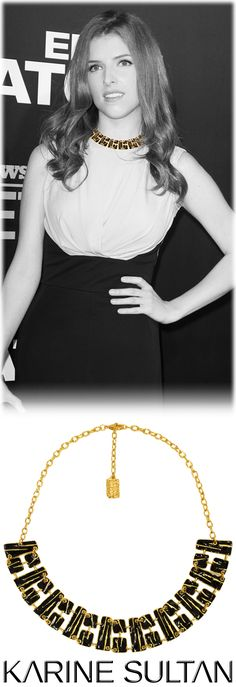 """""""Louisy"""" gold Necklace worn by Anna Kendrick  by Karine Sultan jewelry"""