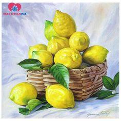 lemon decor for kitchen Watercolor Fruit, Fruit Painting, Oil Painting On Canvas, Watercolor Paintings, Lily Painting, Watercolour, L'art Du Fruit, Fruit Art, Lemon Pictures