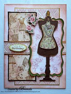 Vintage. Dress card. Mannequin. Dress form