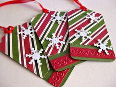Christmas gift tags, traditional colors