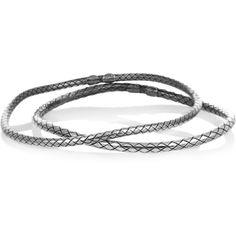 Bottega Veneta Set of two intrecciato sterling silver bracelets ($540) ❤ liked on Polyvore featuring jewelry, bracelets, bottega veneta, gold, bottega veneta jewelry, sterling silver jewelry, sterling silver bangles and sterling silver jewellery