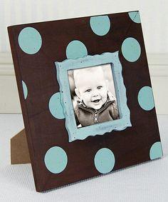 Tiffany Blue & Chocolate Polka Dot Frame