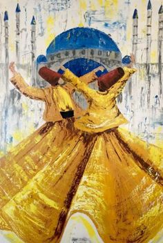 Rumi& Verses, Oil on canvas figurative painting by Sadaf Farasat x 41 in) Arabic Calligraphy Art, Arabic Art, Sketch Painting, Figure Painting, Dancing Drawings, Art Drawings, Dance Paintings, Islamic Paintings, Turkish Art