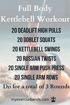 With just a kettlebell, you can get a full body workout! Try this workout and do for a total of 3 rounds. Want to try some other full body workouts check them out on our website! You can find workouts using weights and body weight workouts. Full Body Kettlebell Workout, Wod Workout, Kettlebell Training, Kettlebell Circuit, Full Body Circuit Workout, Strength Workout, Boxing Workout, Tabata, Total Body Workouts