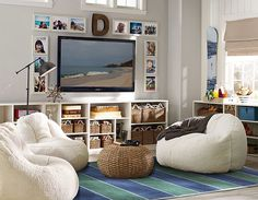 PB teen for the playroom around tv. love the wooden letter and symmetrical frames