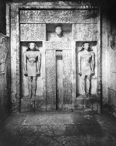A find from the Brooklyn Museum Archives, taken in Saqqara, Egypt. Photo is titled: Chapel, Tomb of Nefer-Seshem-Ptah. Courtesy the Brooklyn Museum, Lantern Slide Collection. Historical Artifacts, Ancient Artifacts, Ancient Egypt, Ancient History, Objets Antiques, Art Antique, Egypt Art, African History, Ancient Civilizations