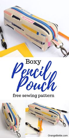 This boxy pencil pouch sewing tutorial is perfect for back-to-school! It is so cute and will help keep track of those stray pens and pencils! Pencil Case Pattern, Pencil Case Tutorial, Zipper Pencil Case, Diy Pencil Case, Zipper Pouch Tutorial, Pouch Pattern, Pencil Pouch, Purse Tutorial, Best Pencil Case