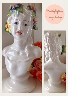 Italian Hand Painted Porcelain Female Roman Girl by PucaByElphiena