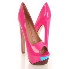 Hot Pink Multi Faux Patent Leather Colorblock Peeptoe Platform Pump... ❤ liked on Polyvore