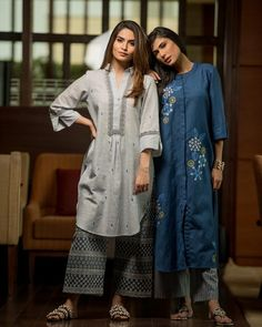 Beautiful Linen-Mul Kurti with embroidery embellishment and printed plazo set. Salwar Designs, Kurta Designs Women, Blouse Designs, Indian Attire, Indian Wear, Indian Outfits, Indian Clothes, Khadi Kurta, Kurti Styles