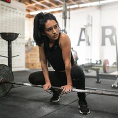 Going down in the weight room. Jasmine Garcia lifting some iron in her all black outfit.  Shop > Gymshark.com
