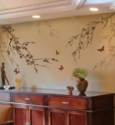 Cherry branch stencil, stencil patterns for easy home decor. Stencils instead of wallpaper Butterfly Stencil, Tree Stencil, Stencil Painting On Walls, Flower Stencils, Stenciling, Stencil Patterns, Stencil Designs, Art Designs, Do It Yourself Decoration