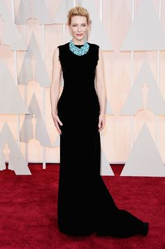 Cate Blanchett always goes for the unpredictable choice and that is why I love watching her on the carpet. Tonight she went with a textured velvet gown from Margiela, who is a pretty unconventional red carpet choice. Plus, that turquoise necklace was the statement to end all statements. That's how you spice up a basic black dress ladies! Hope you are all taking notes.    - ELLE.com