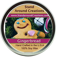 Premium 100 All Natural Soy Wax Aromatherapy Candle Tin Gingerbread A spiced cookie with a freshly baked character with hints of vanilla nutmeg cinnamon and ginger