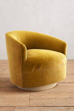 Slide View: 1: Velvet Amoret Swivel Chair