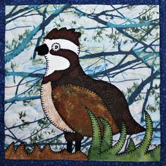 Northern grouse PDF applique quilt block pattern; whimsical child's or baby quilt pattern; forest or woodlands animal quilt applique pattern by MsPDesignsUSA on Etsy