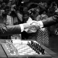 Handshake before the 2nd game of World Chess Championship Anand-Carlsen