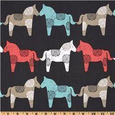 Michael Miller Sorbet Wooden Horses in gray.