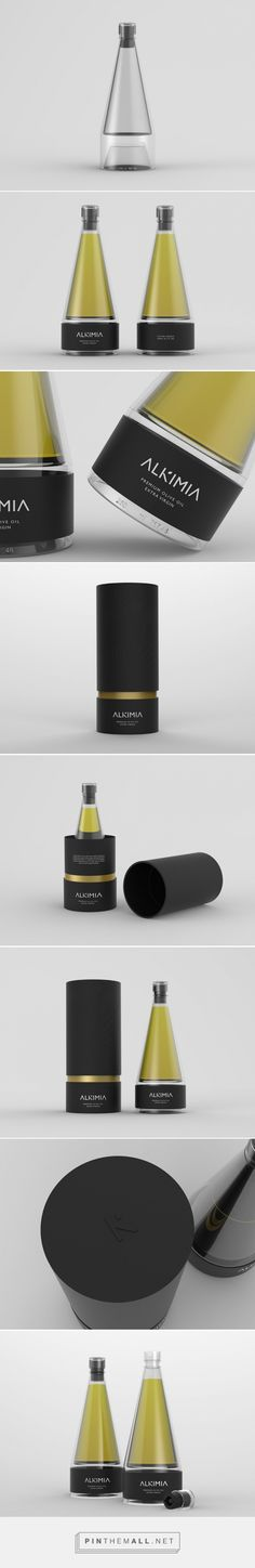 ALKIMIA Premium Olive Oil packaging design concept by Nancy Nieto & Isabel Tabarini - http://www.packagingoftheworld.com/2016/06/alkimia-premium-olive-oil-student.html(Cosmetic Bottle Design)