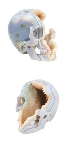 Geode Banded Agate Skull - hand carved in Indonesia - #crystal