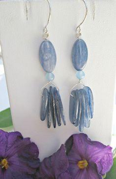 Natural Kyanite Dangle Earrings Handcrafted Solid Sterling Silver #EWArtistry