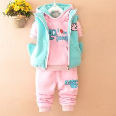 New Fall Winter Baby Boy Clothes Happy Elephant Fleeces Sweater+Pants Girl Outfits