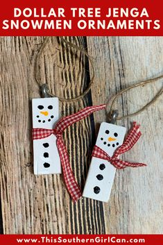 How cute are these Dollar Tree Jenga block snowmen ornaments? They are so simple to make, and are a great craft to do with children or even senior citizen groups. All you need is a Dollar Tree. Dollar Tree Christmas, Christmas Ornaments To Make, Dollar Tree Crafts, How To Make Ornaments, Diy Christmas Gifts, Christmas Projects, Handmade Christmas, Holiday Crafts, Christmas Decorations