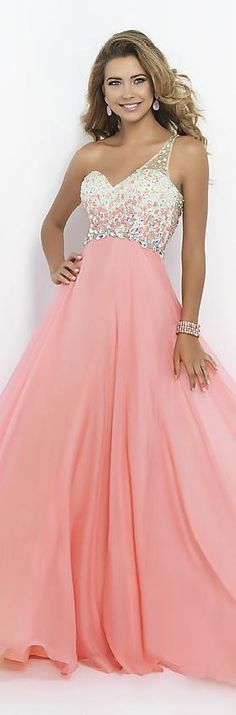 Embellished Chiffon Lilac Princess One-Shoulder Natural Prom Dress In Stock jijidresses12406hjrsr #pinkdress #promdress