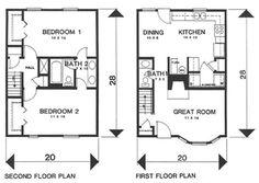 "2 BR 1.5BA Townhouse Floors:2  Living Sq Feet:1131  Bedrooms:2  Full Baths:1  Half Baths:1  Width:20' 0""  Depth:28' 0"""