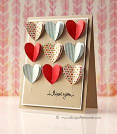 Paper hearts card by Wanda Guess Valentines Day Cards Handmade, Valentine Day Crafts, Valentine Decorations, Valentines Day Gifts For Him Creative, Hand Made Greeting Cards, Greeting Cards Handmade, Paper Hearts, 3d Hearts, Origami