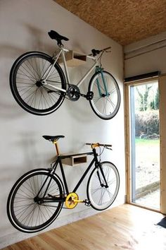 34 Creative Hacks To Organize Your Stuff For Garage Storage Possessing a garage . - 34 Creative Hacks To Organize Your Stuff For Garage Storage Possessing a garage can help you in man - Garage Organisation, Diy Garage Storage, Tool Storage, Organization Ideas, Bicycle Storage Garage, Storage Hacks, Bike Hanger For Garage, Wall Mounted Bike Storage, Bike Storage Room