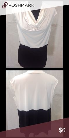 Kasper Black and White Top Kasper black and white top with gathered neckline. Good used condition. 95% polyester, 5% spandex. Machine wash cold. Kasper Tops Tank Tops