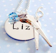 Hairdresser Personalized Necklace - Hand Stamped Jewelry - Sterling Silver  KristyLynnJewelry/Hand Stamped Personalized Jewelry--Etsy