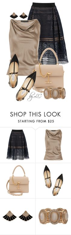 """Lace skirt"" by explorer-14541556185 ❤ liked on Polyvore featuring self-portrait, Alexander Wang, Luana and Jimmy Choo"