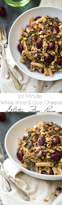 20 Minute White Wine and Goat Cheese Pasta with Rainbow Chard Recipe - SO easy, Gluten free and creamy! Perfect for a weeknight or romantic dinner at home! | Foodfaithfitness.com | @FoodFaithFit