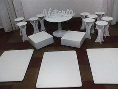 Set para mesas dulce, alzadas, platos y porta  cupcakes individuales