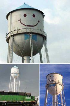 Smiley Face Water Tower, Grand Forks, ND (AWWW LOVE IT)