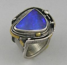 Ring | Elaine Rader. Sterling silver, 22k gold, Boulder Opal, diamond