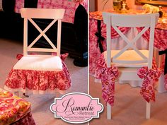A Romantic Bedroom Retreat with Rowan & FreeSpirit Fabrics: Bows & Ruffles Vanity Chair Cushion | Sew4Home