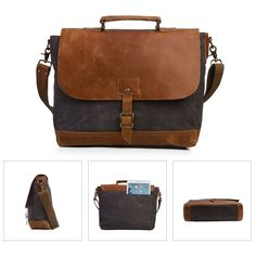 Tough Charcoal Grey Canvas Laptop Messenger Bag with Brown Leather Trim