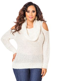 9fc4189887598 Cold Shoulder Sequined Cowl Neck Sweater - Ashley Stewart Plus Size Clothing  Stores