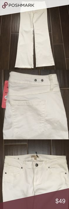 """CAbi White Wide Leg Jean NWT. Comes from smoke free home. No holes or stains. Please examine all pictures. Retails $108  Bundle to save on shipping! This item will be videotaped prior to packaging.   Tag size: 4R  Approximate Measurements with garment laying flat:   Waist: 14"""" Inseam: 30.5"""" Front rise: 7.5"""" Leg opening: 9"""" CAbi Jeans Flare & Wide Leg"""