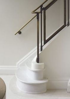 Parisian Staircase with Glass and Brass Stair Rail