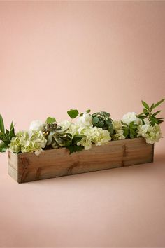 Wedding Flowers Wooden Box Planters - Equal parts modern and rustic, these simple wooden planters are lined with plastic to ensure that your greens and blooms stay happy. Planter Box Centerpiece, Planter Table, Succulent Centerpieces, Succulents Diy, Wedding Table Decorations, Centerpiece Decorations, Wedding Centerpieces, Wooden Flower Boxes, Wooden Planter Boxes
