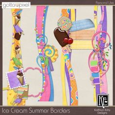 Ice Cream Summer Digital Scrapbook Borders. $3.00 at Gotta Pixel. www.gottapixel.net